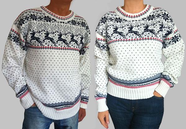 мужские свитера с оленями на спицах